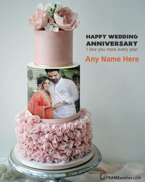 Anniversary Cake With Photo - 3 Story Round Photo Cake