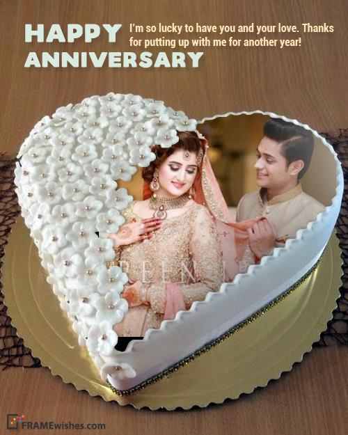 Anniversary Cake With Photo - Amazing White Heart Cake
