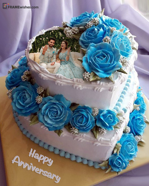 Anniversary Cake With Photo - Blue Roses Cake For Couples