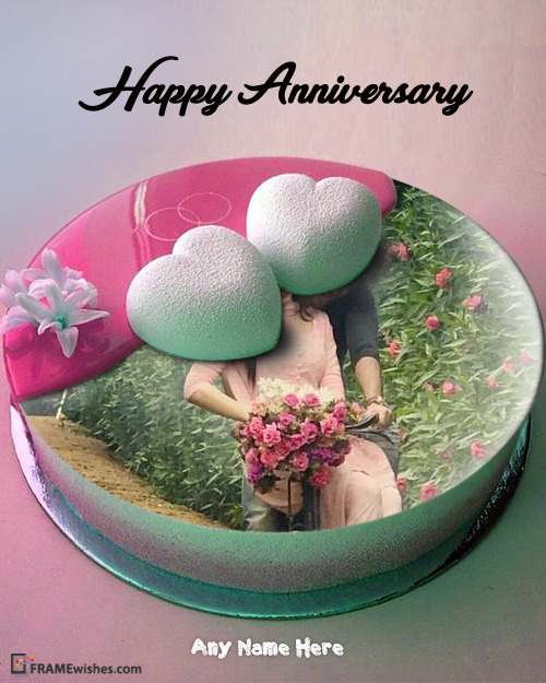 Anniversary Cake With Photo - Cute Hearts Cake