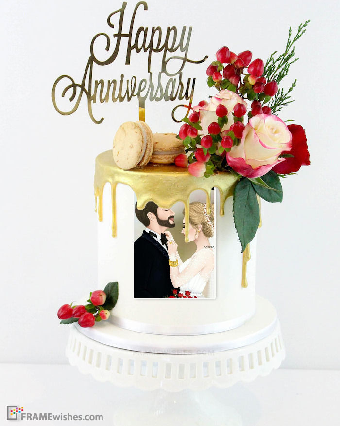 Anniversary Cake With Photo For Couples