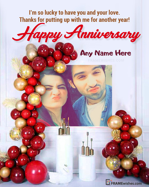 Anniversary Photo Frame With Backdrop Balloons Frame