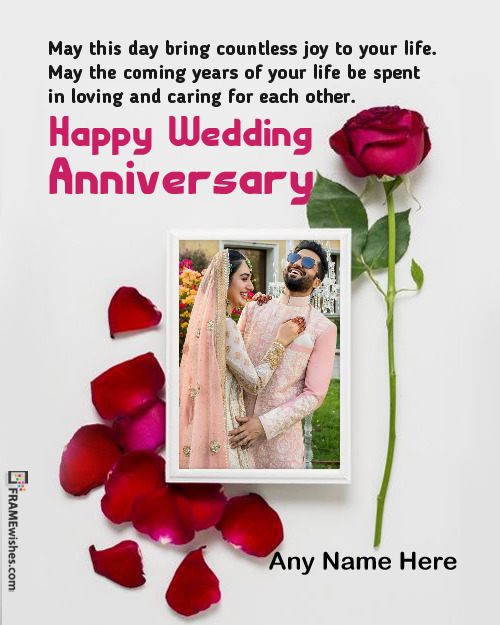 Romantic Love Anniversary Photo Frame With Rose