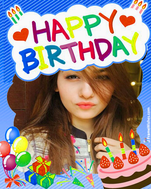 Balloons Cake Happy Birthday Photo Frame Wish For Friends Online Edit