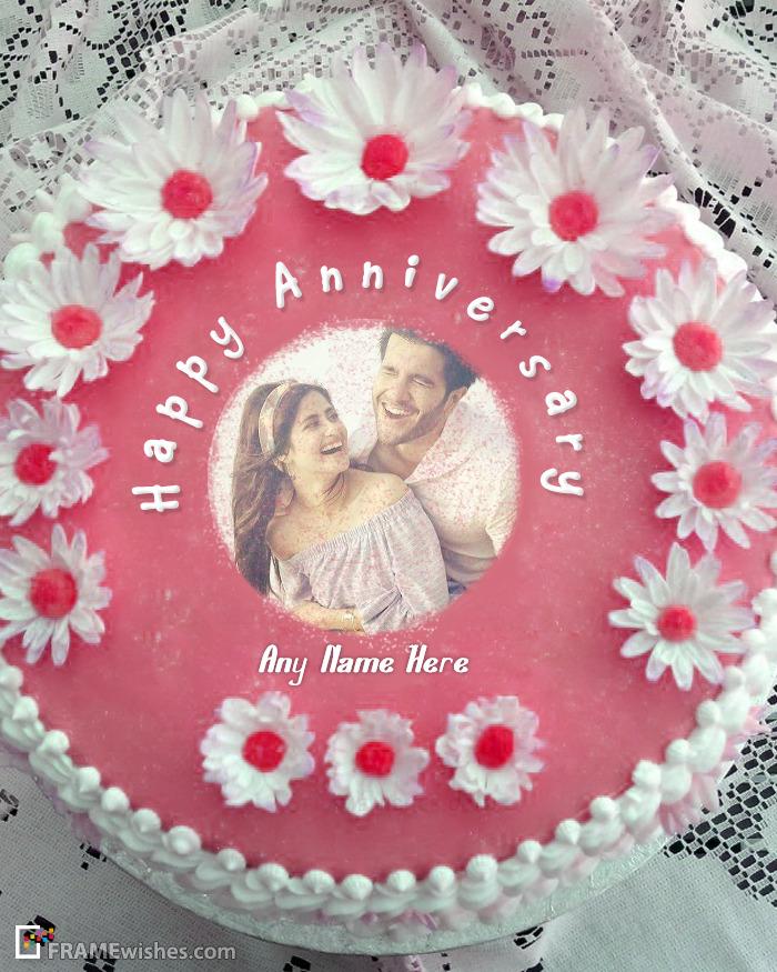 Beautiful Happy Anniversary Cake With Photo