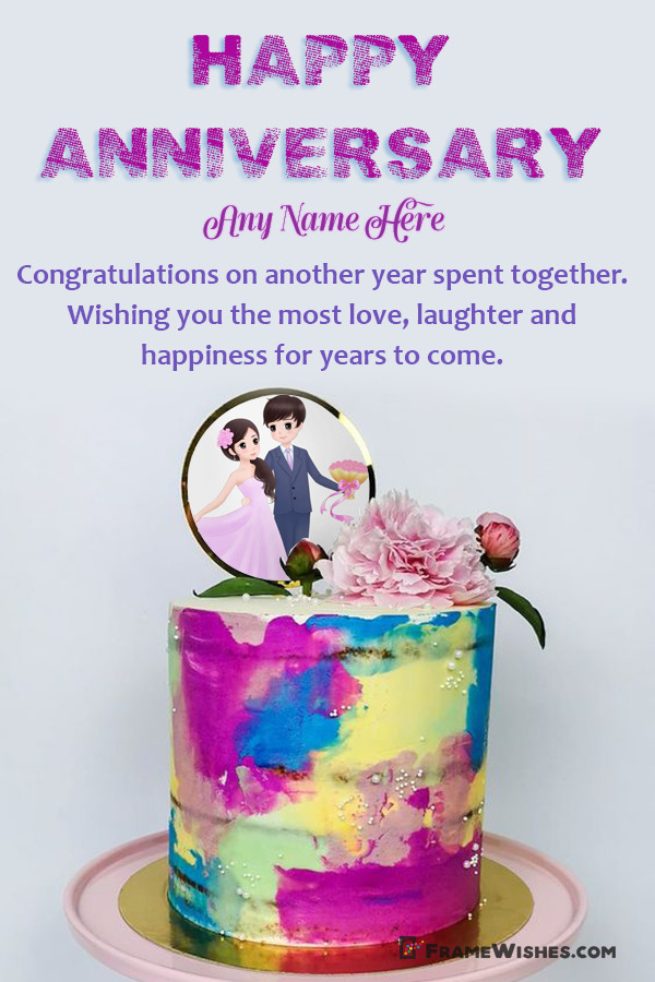 Beautiful Water Colors Anniversary Cake With Photo Frame and Name