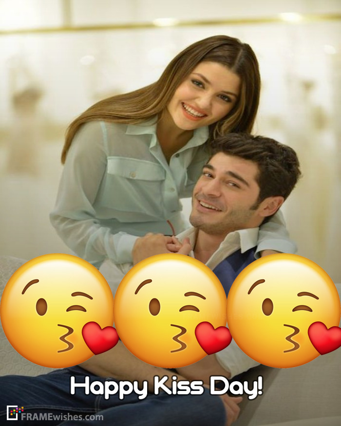 Best Happy Kiss Day Photo Frame For Couples