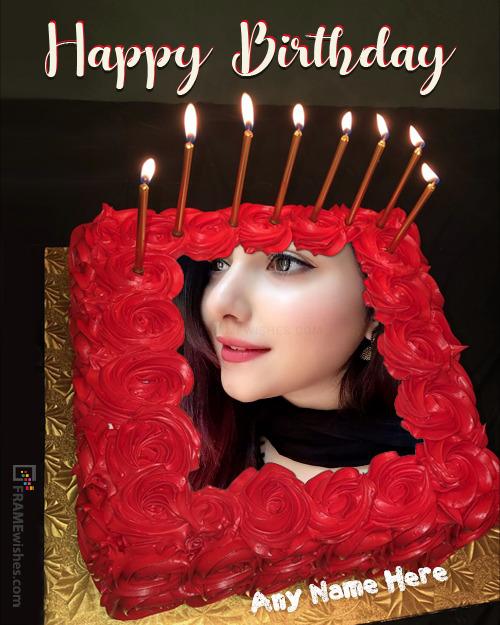 Birthday Cake With Photo Red Velvet Cake