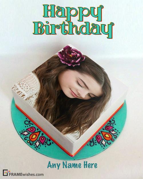 Birthday Cake With Photo Frame Mandala Square Cake
