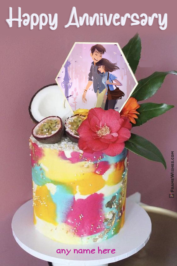 Coconut and Fresh Flowers Anniversary Cake with Photo Frame and Name