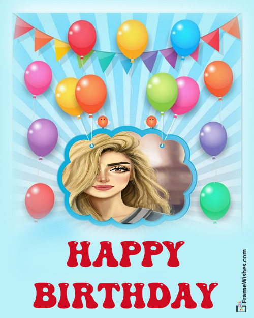 Colorful Happy birthday Photo Frame For Friends Free Online Gift