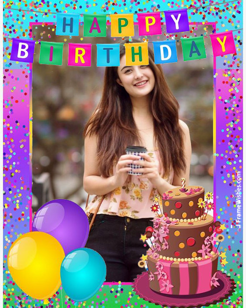 Colorful Happy Birthday Photo Frame Free Online Edit For Friends