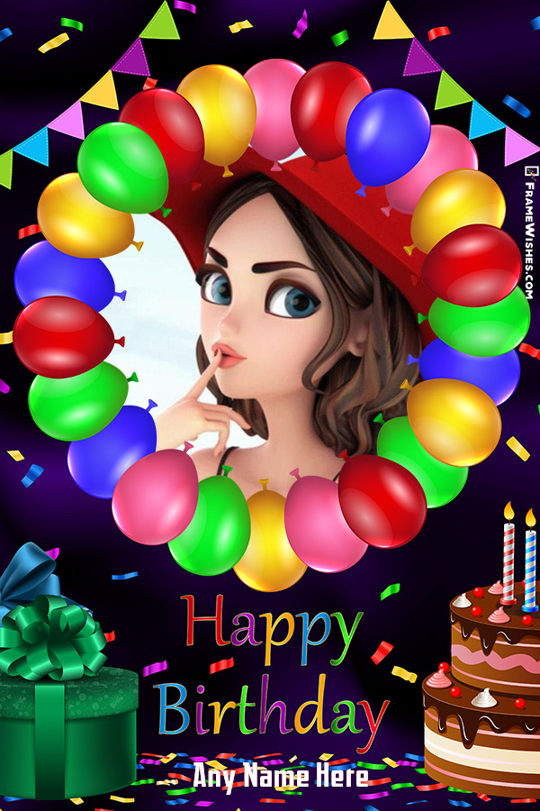 Colorful Happy Birthday Photo Frame with Name Editor