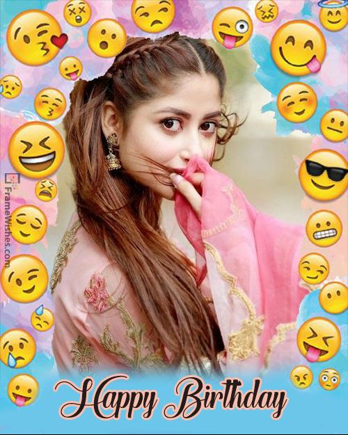 Cool Emojis Birthday Photo Frame Edit Online