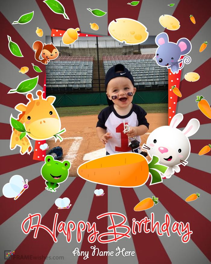 Cute Happy BDay Photo Frame For Kids