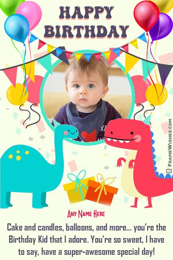 Dinosaur Themed Happy Birthday Photo Frame For Kids