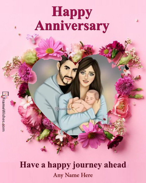 Floral Happy Wedding Anniversary Heart Photo Frame