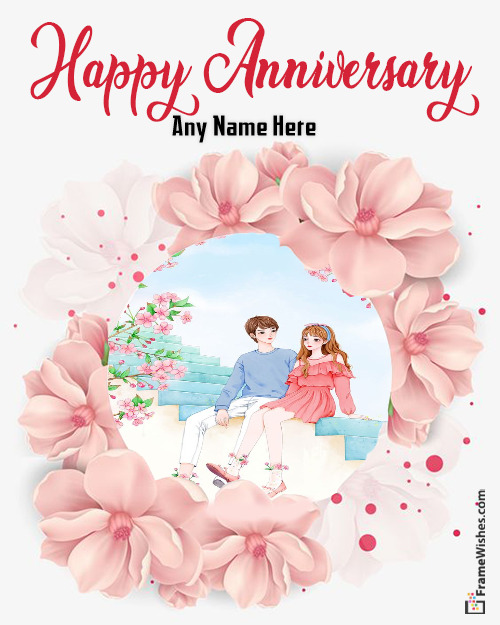 Floral happy Wedding Anniversary Photo Frame Free Online Gift