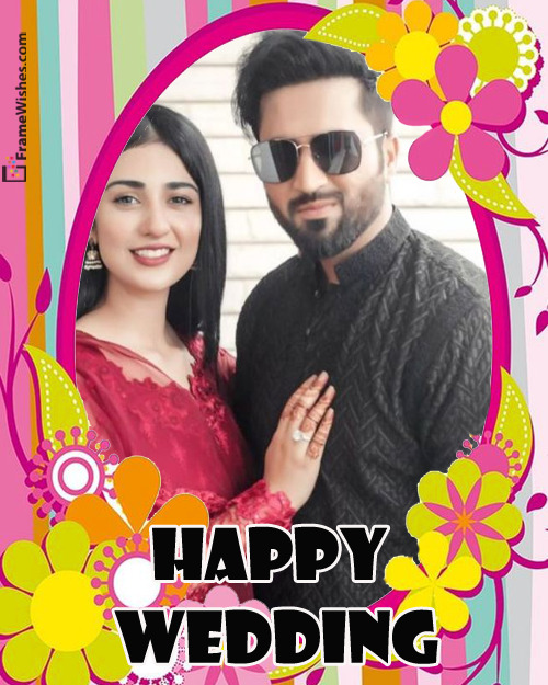 Floral Happy Wedding Photo Frame Online Wish Free Edit For Friends