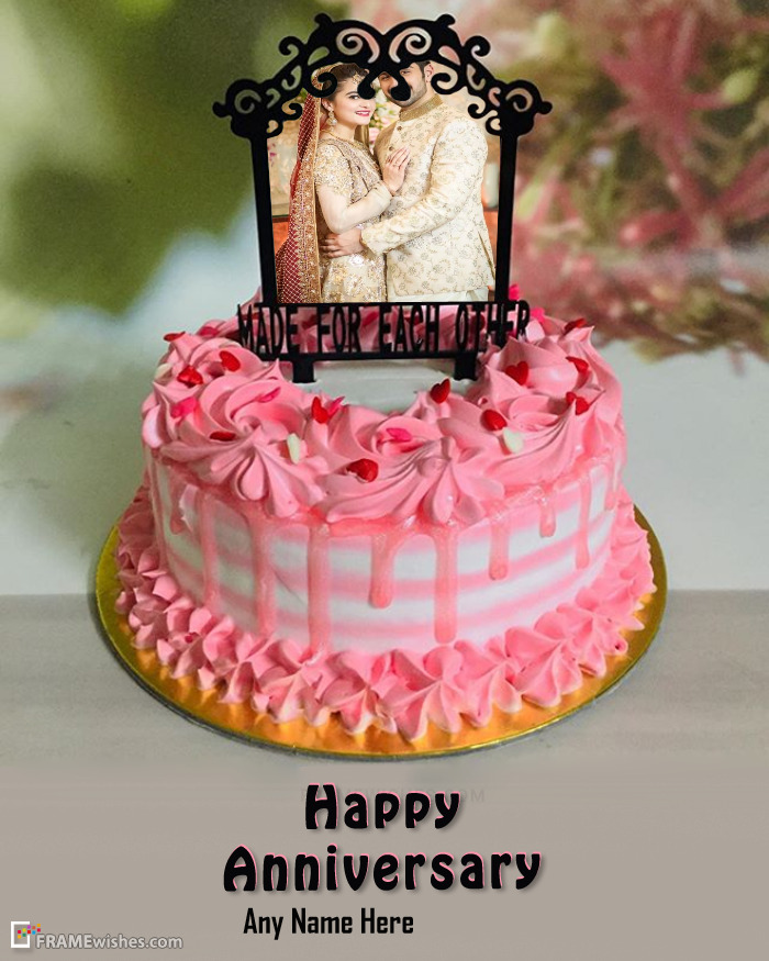 Happy Anniversary Cake with Photo Edit Free