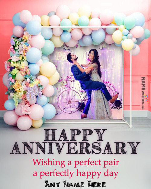 Happy Anniversary Frame Ballons Backdrop Full Photo Free Online with Wish
