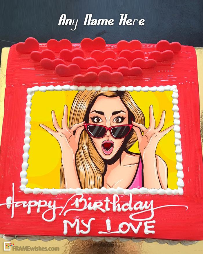 Romantic Happy Birthday Cake Photo Editing Online