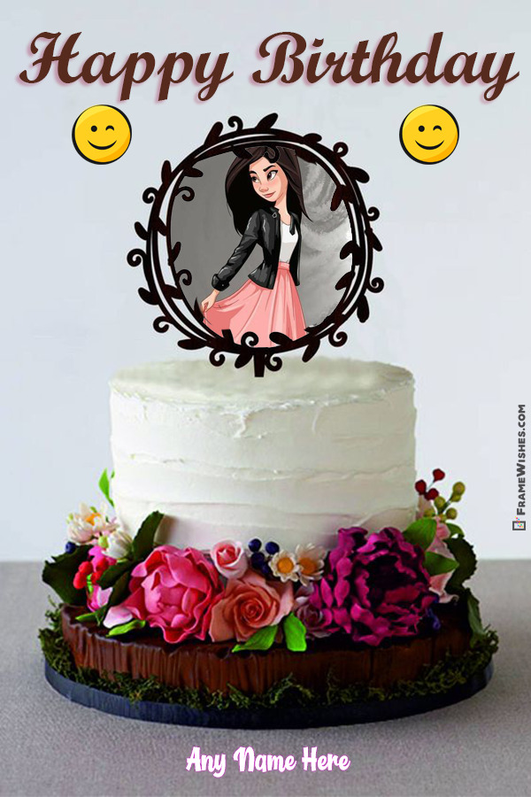 Happy Birthday Floral Cake Topper With Name and Photo Frame