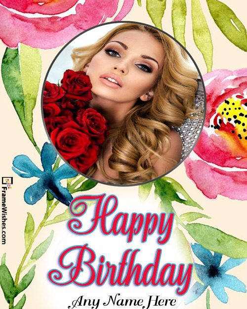 Happy Birthday Floral Photo Frame For Friends and Relatives