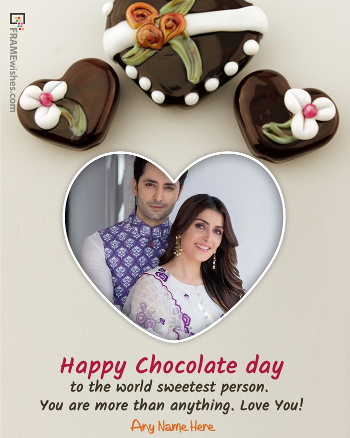 Happy Chocolate Day Photo Frame In Chocolate Heart