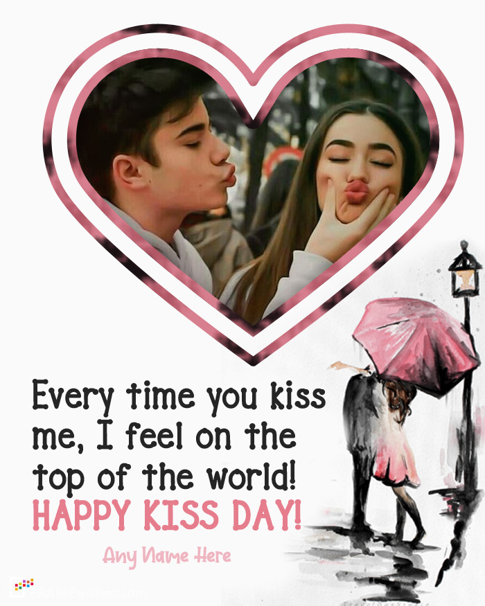 Happy Kiss Day Photo Frame For Husband Wife
