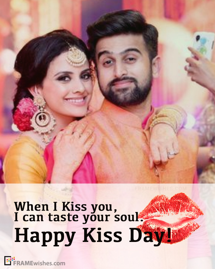 Happy Kiss Day Photo Frame With Wish