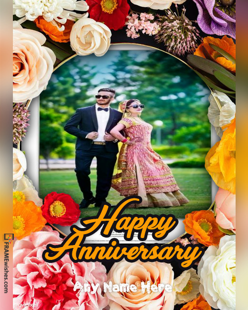 Happy Wedding Anniversary Photo Frame With Giant Flowers
