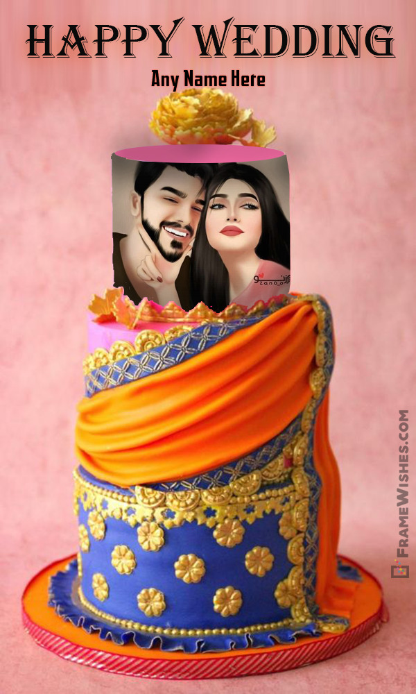 Happy Wedding Beautiful Cake With Name and Photo Frame Online Gift