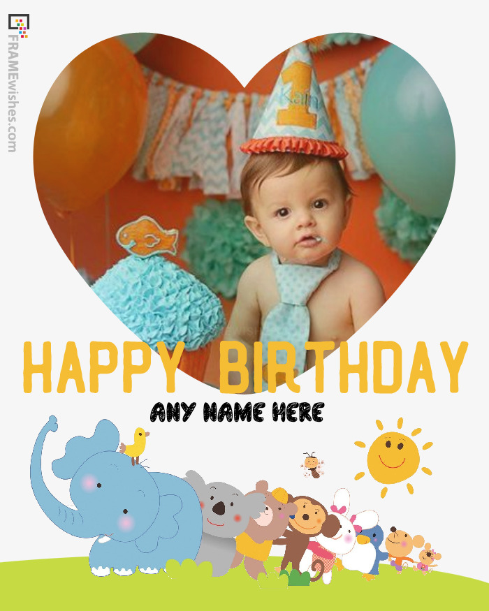 Heart and Animals Birthday Photo Frame For Kids
