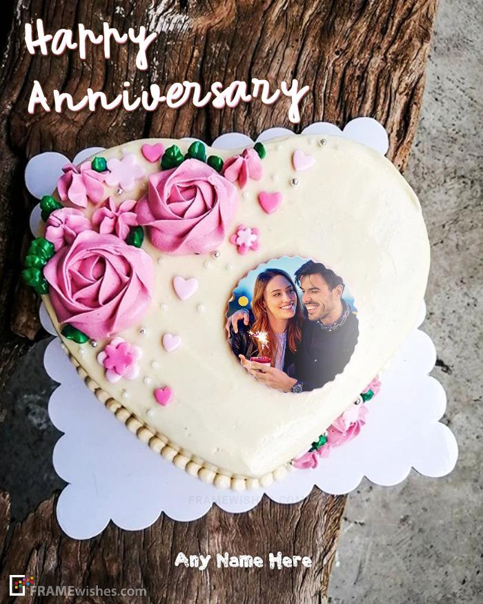 Heart Anniversary Cake With Photo