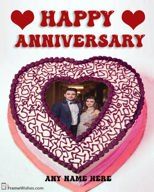 Heart Shaped Anniversary Cake Photo Frame For Couples
