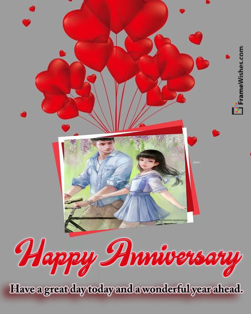 Hearts Ballons Happy Wedding Anniversary Photo Frame With Wish For Lovely Couple or Partner