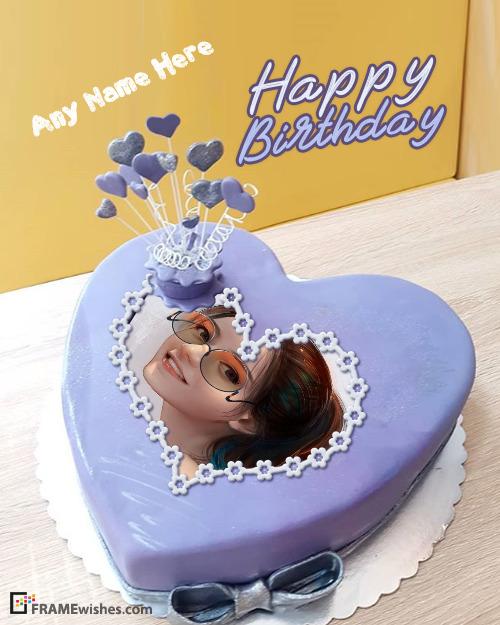 Indigo Heart Birthday Cake With Photo Frame Download