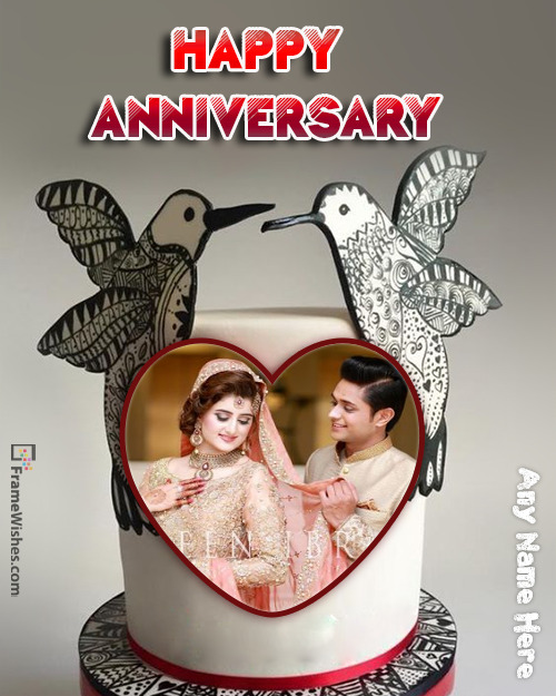 Love Birds Heart Anniversary cake with Photo Frame Free Online Edit