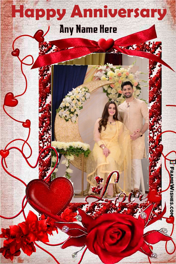Love Happy Anniversary Photo Frame With Name Editor