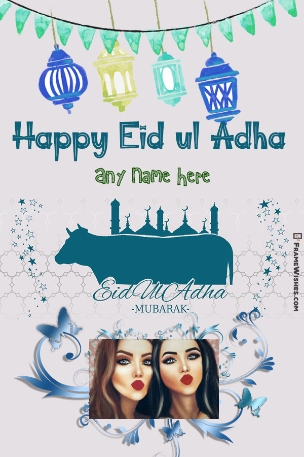 Lovely Eid Ul Adha Greeting Card with Name and Photo
