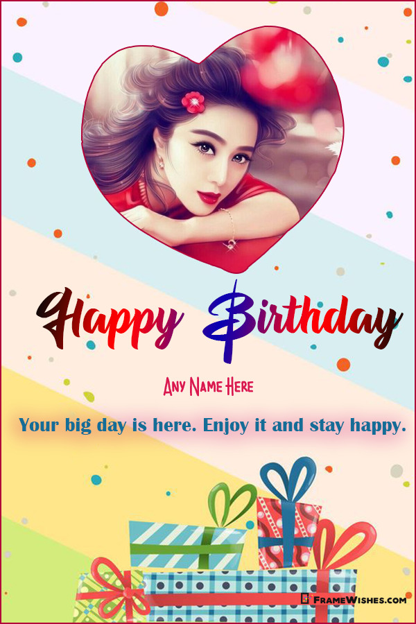 Lovely Hearts Happy Birthday Wish With Photo and Name