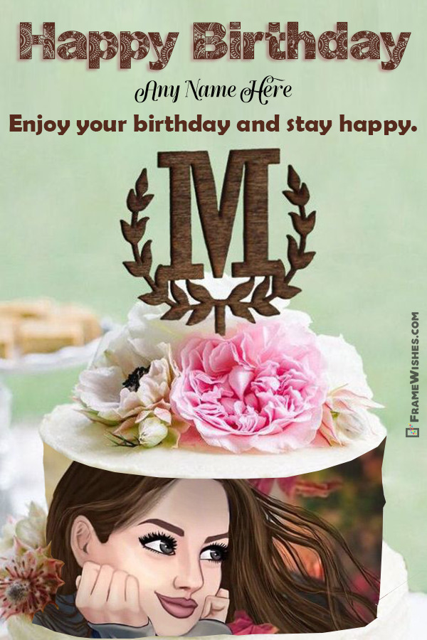 M Letter Birthday Cake With Photo Frame and Name Edit Online
