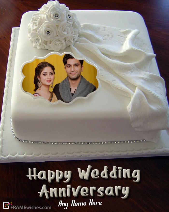 Online Wedding Anniversary Cake With Photo Frame