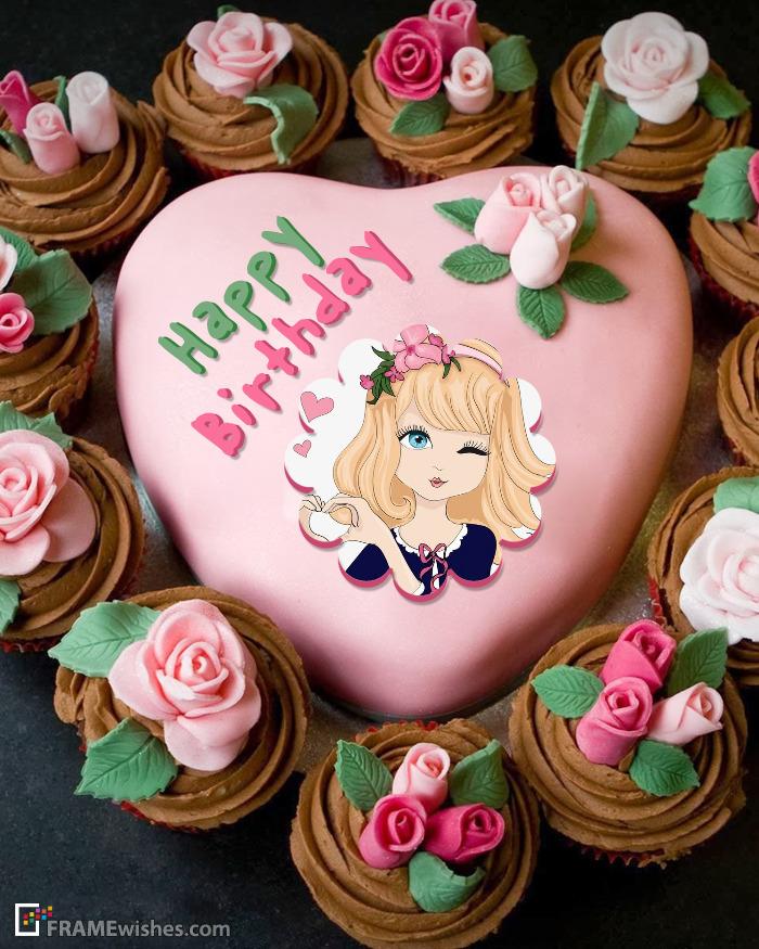 Pink Heart Birthday Cake Photo Frame