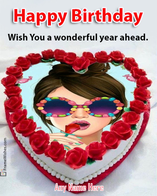Red Heart Love Birthday Cake with Photo Frame Free online Edit