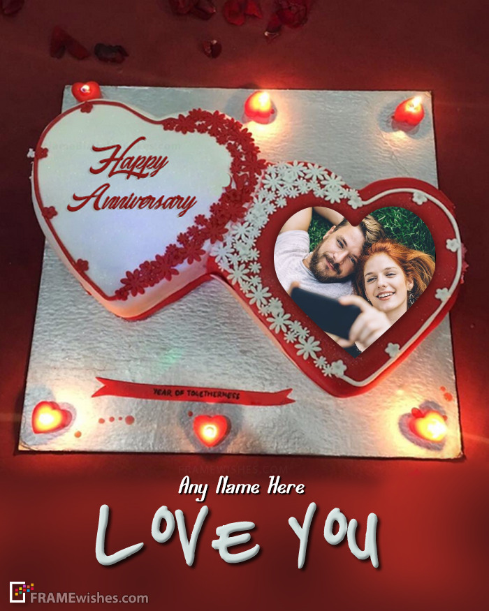 Romantic Anniversary Cake With Photo Frame
