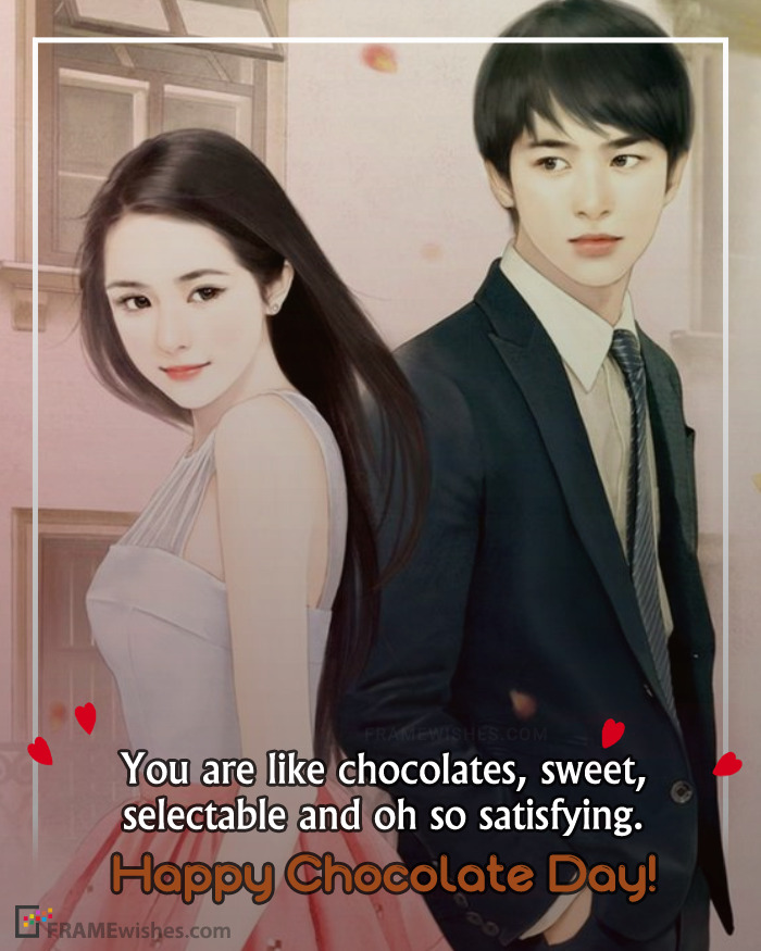 Romantic Happy Chocolate Day Photo Frame With Wish