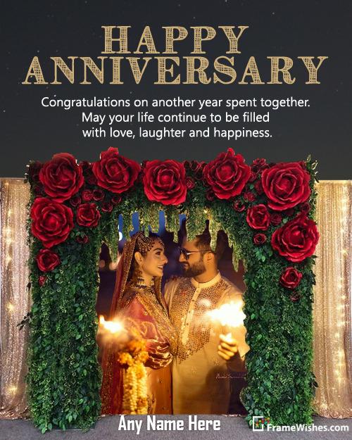 Rose Flowers Backdrop Happy Wedding Anniversary Photo Frame Free Edit Online