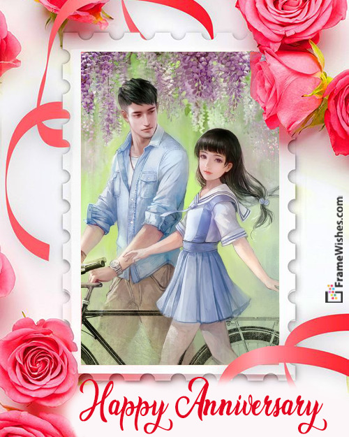 Roses Happy Anniversary Photo Frame Free Edit Online